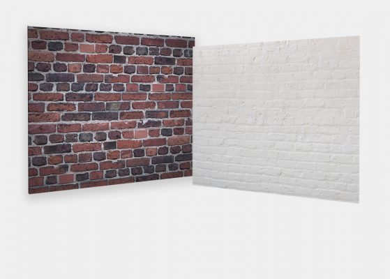 Custom Webcam Backdrop - Old World Red Brick & Painted White Brick
