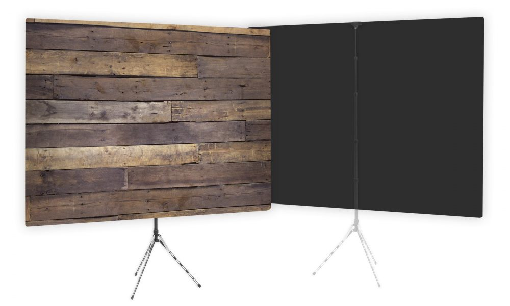Rustic Wood Wall Webcam Background - Black on Second Side