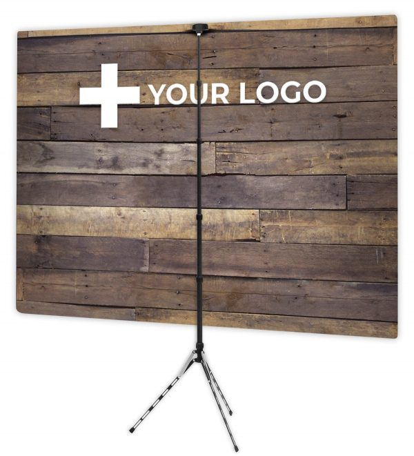 Rustic Wood Wall - Back of Webcam Backdrop Design - With Logo