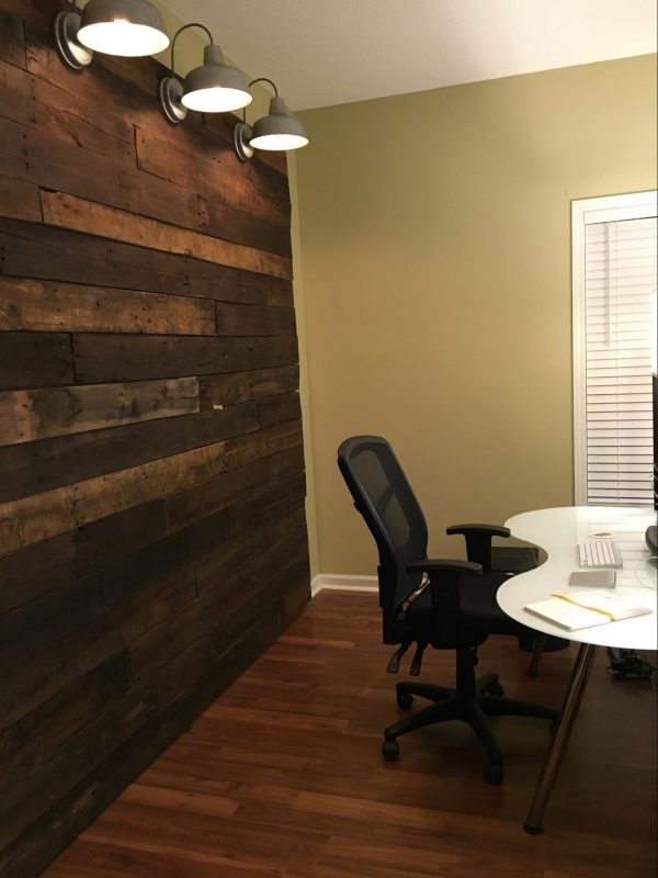 Wood wall size compared to office wall