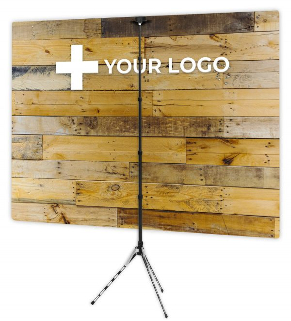 Chic Pallet Wall - Back of Webcam Backdrop - With Logo