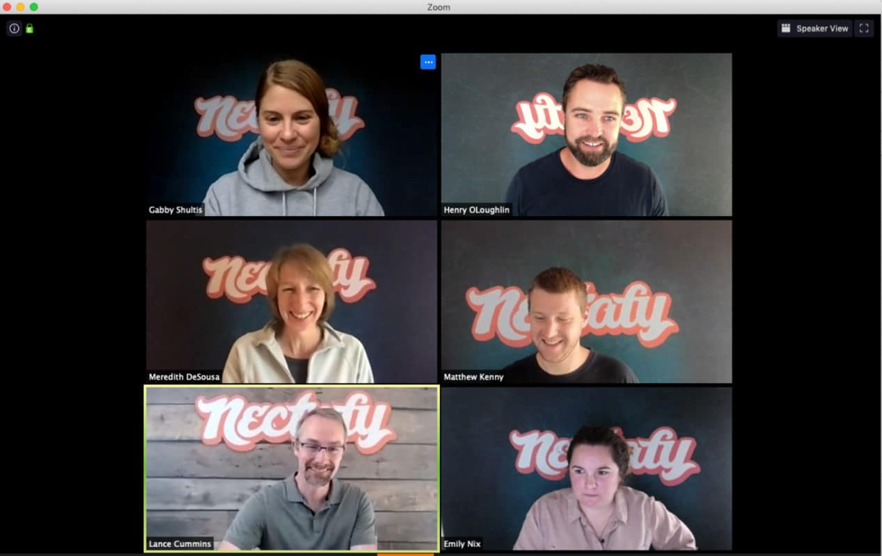 The Nectafy team with Anyvoo backdrops