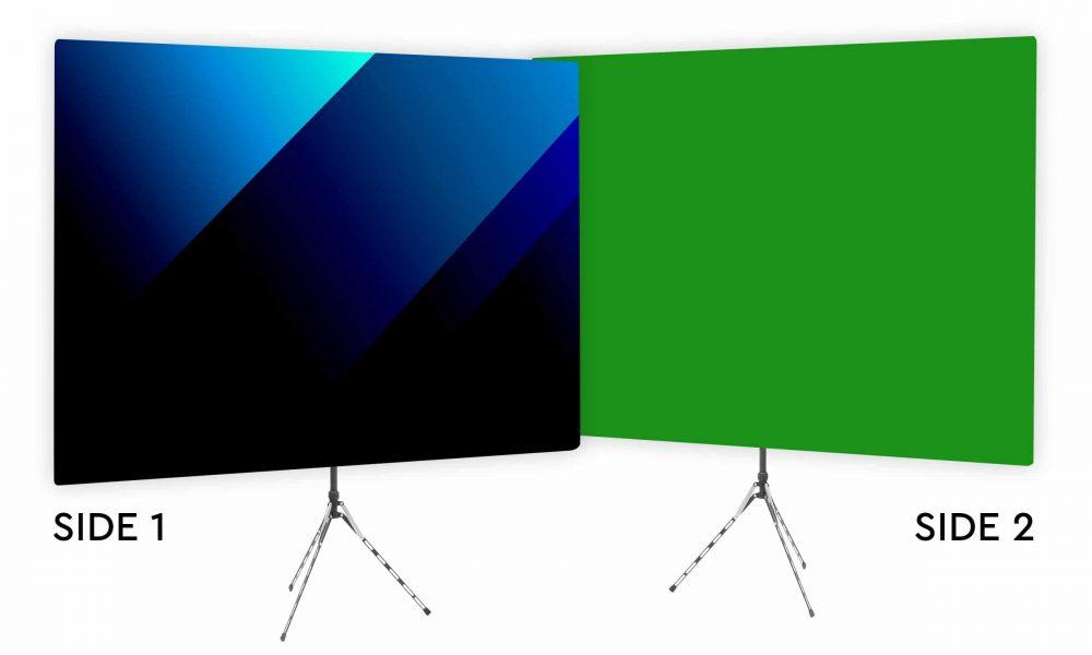 Blue Bold Angle Webcam Backdrop - Green Screen Second Side