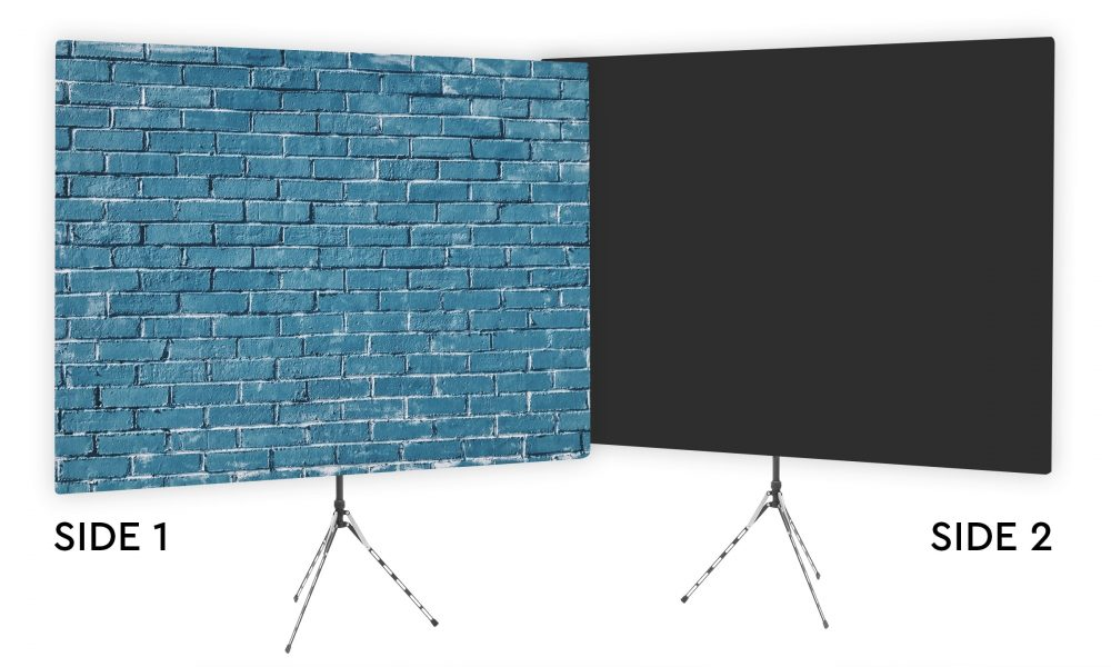 Blue Brick Wall Webcam Backdrop - Black Second Side