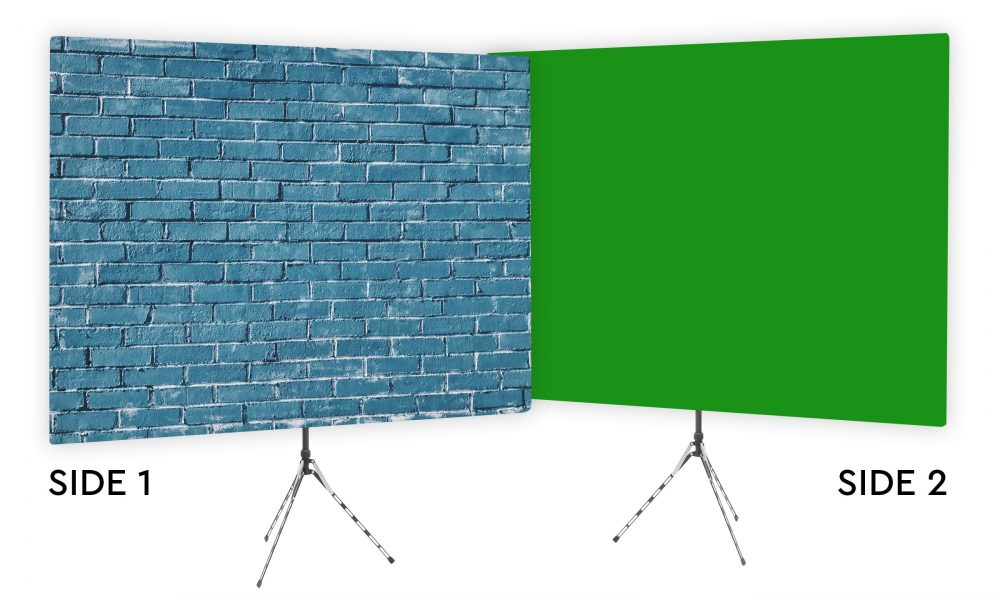 Blue Brick Wall Webcam Backdrop - Green Screen Second Side
