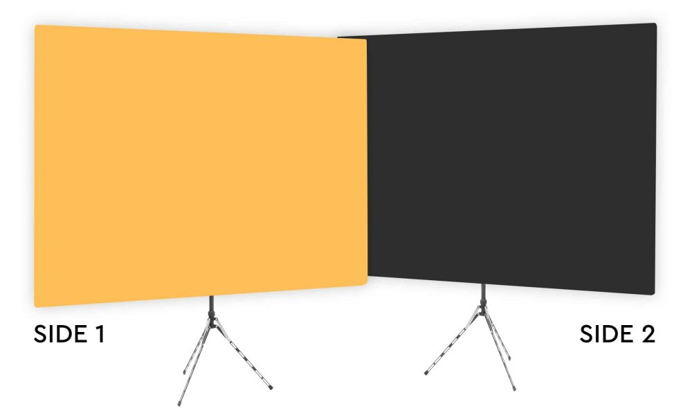 Clementine - Solid Orange Webcam Backdrop - Black Second Side