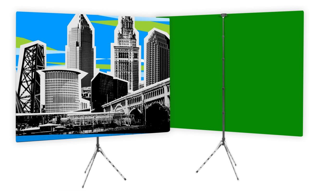 Custom Designed TV Studio Home Backdrop with Green Screen