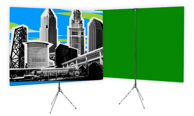 Custom Designed TV Studio Home Backdrop with Green Screen