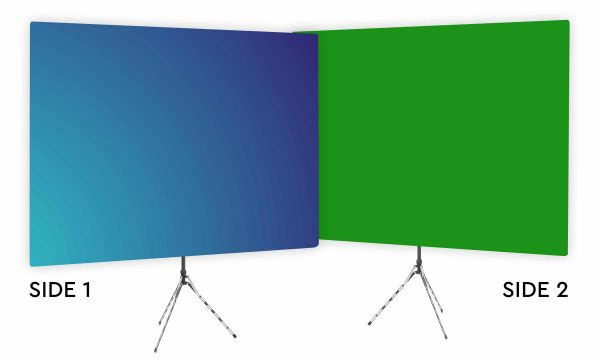 Deep Sky Blue Gradient Webcam Backdrop - Green Screen Second Side