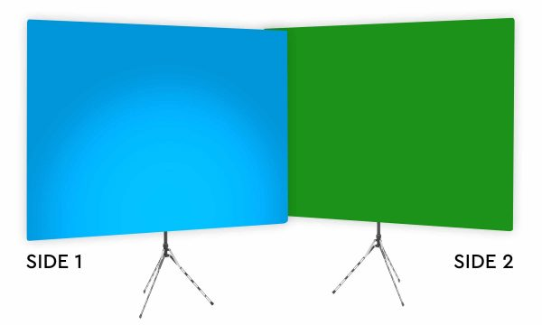 Destin Blue Uplight - Blue Gradient Webcam Backdrop - With Green Screen Second Side