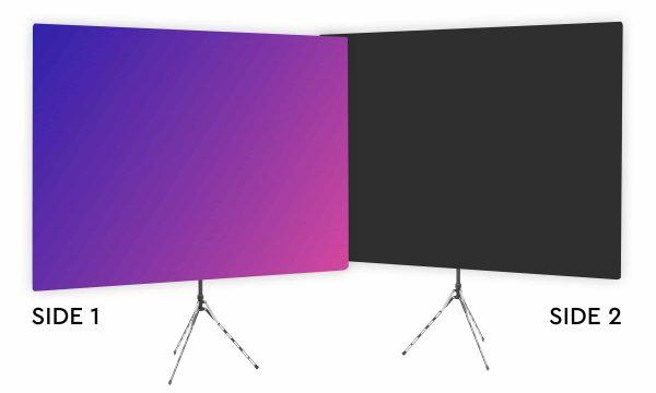 Eighties Glow - Pink Purple Gradient Webcam Backdrop - Black Second Side