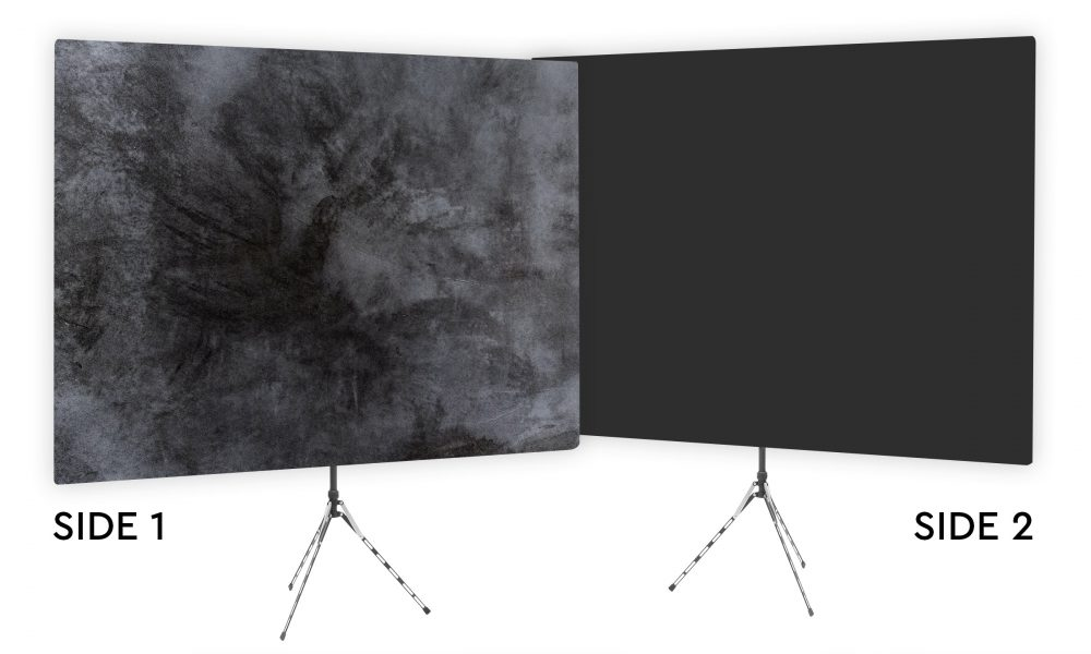 Elaborate Monochrome - Black Webcam Backdrop - Black Second Side
