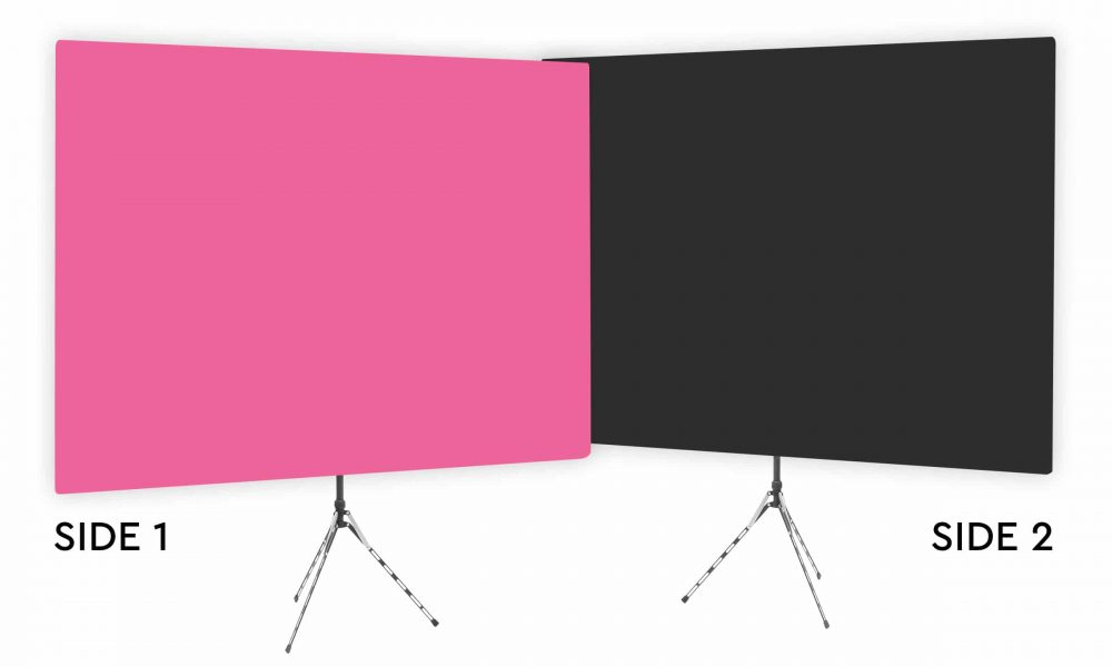 Fuchsia Glow - Solid Pink Webcam Backdrop - Black Second Side