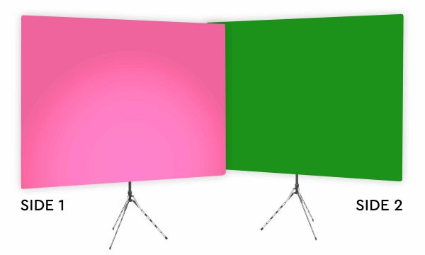 Fuscia Glow Uplight - Pink Gradient Webcam Backdrop - With Green Screen Second Side