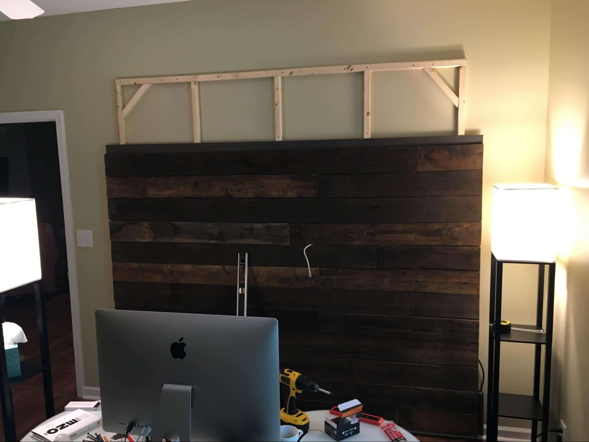 How to build wood wall background for home office - Anyvoo - Mounting the second piece of the wood wall to the frame