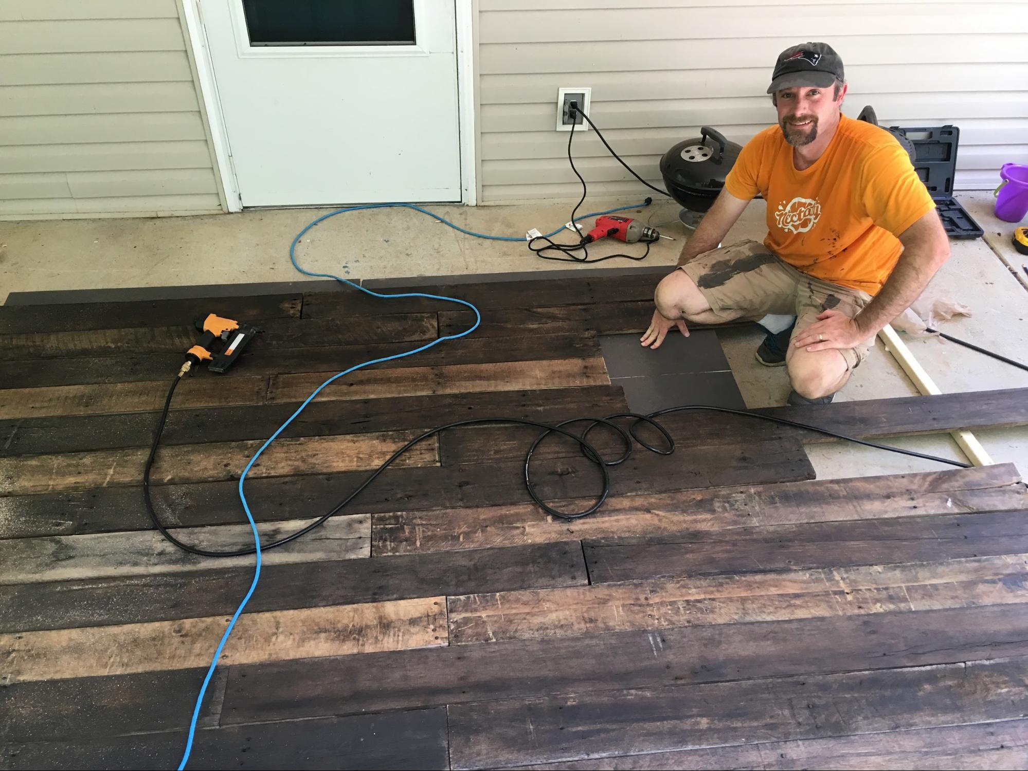 How to build wood wall background for home office - Anyvoo - Securing boards to plywood with brad nailer