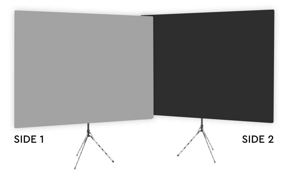 Mitty Gray - Solid Gray Webcam Backdrop - Black Second Side