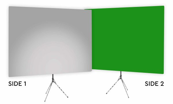 Mitty Gray Uplight - Gray Gradient Webcam Backdrop - With Green Screen Second Side