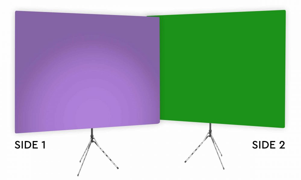 Purple Rhyme Uplight - Purple Gradient Webcam Backdrop - With Green Screen Second Side