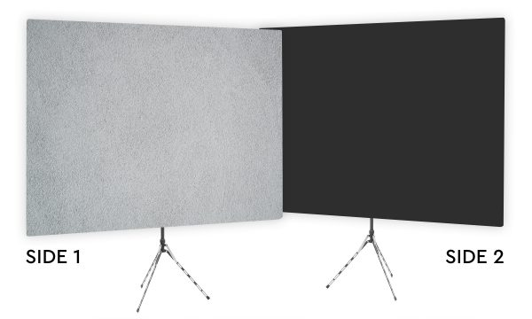 Surface Interest Gray Textured Webcam Backdrop - Black Second Side