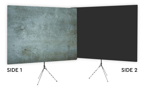 Grunge Gray Textured Webcam Backdrop - Black Second Side
