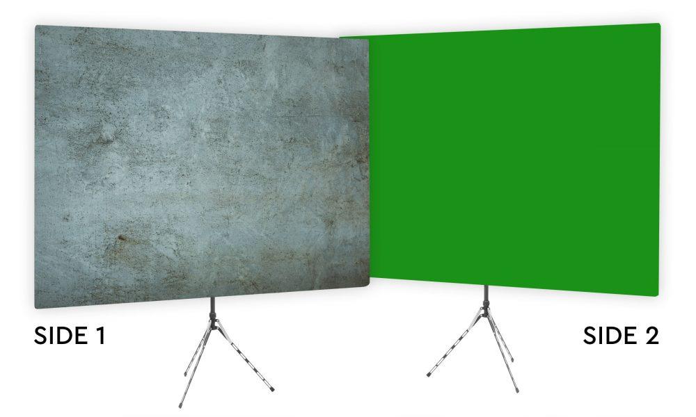 Grunge Gray Textured Webcam Backdrop - Green Screen Second Side