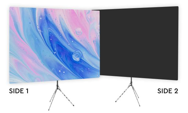 Very Watercolor - Pink and Blue Webcam Backdrop - Black Second Side