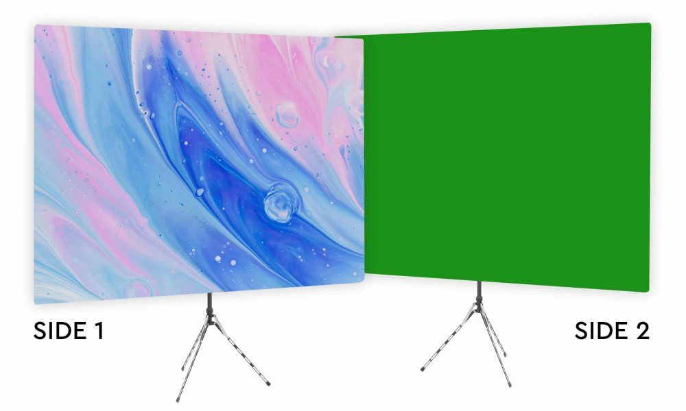 Very Watercolor - Pink and Blue Webcam Backdrop - Green Screen Second Side