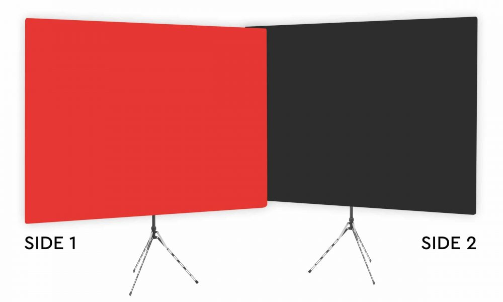 Wrangler Red - Solid Red Webcam Backdrop - Black Second Side