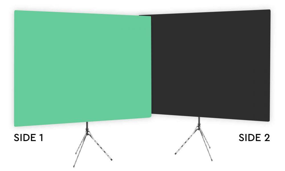 Zen Effect - Solid Green Webcam Backdrop - With Black Second Side