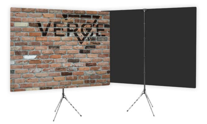 Verge branded brick wall backdrop